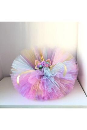 bbays new ternd Unicorn Taç Tütü Etek Kız Çocuk Unicorn Doğum Günü Kabarık Etek 2 Li Set