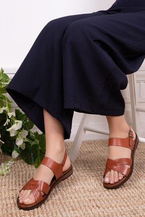 Deripabuc Hakiki Deri Taba Kadın Deri Sandalet Dp-0080