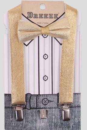 Breeze Erkek Çocuk Gold  Papyonlu Pantolon Askısı