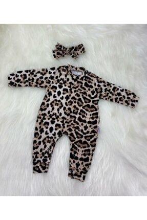 Murat Baby Kız Bebek Leopar Desen Bandanalı Tulum 4256