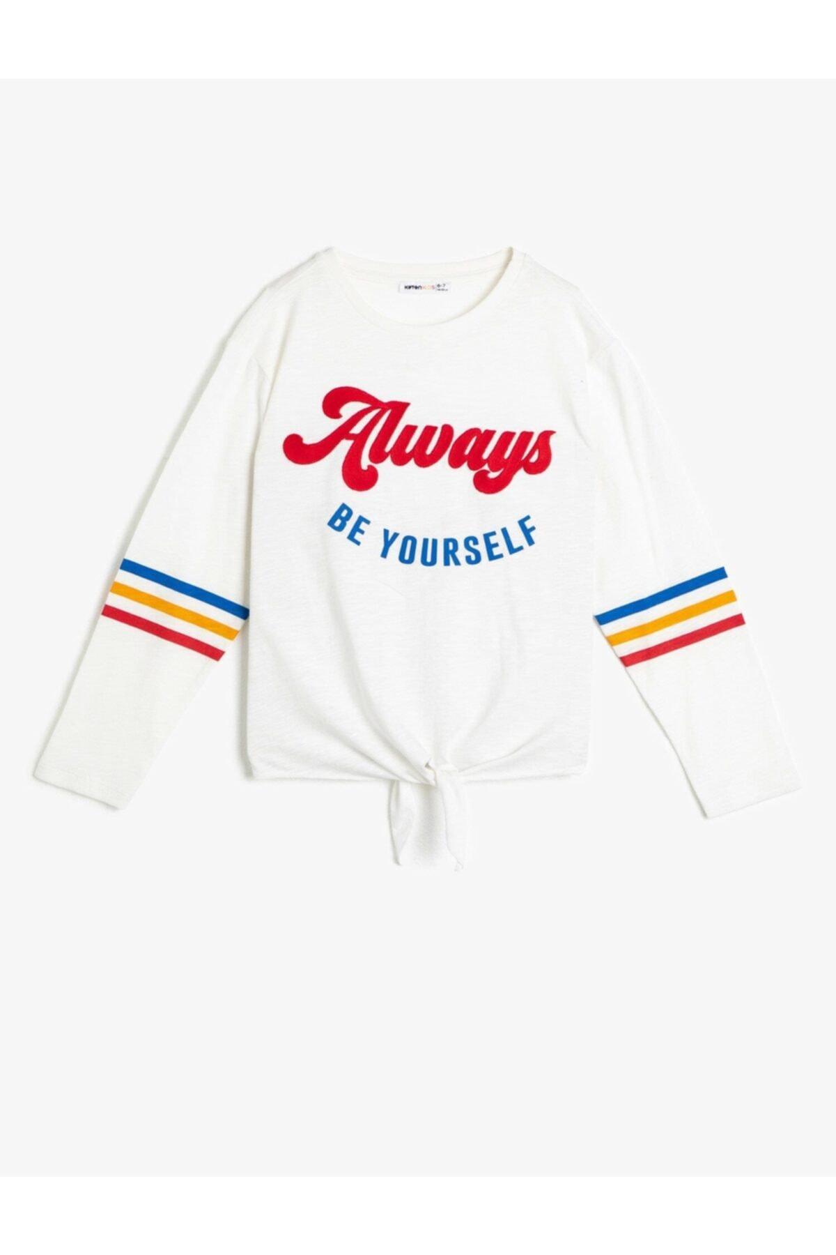 Koton Kız Çocuk Ekru T-Shirt 0YKG17522AK 2