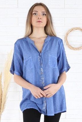 Arlin Kadın Sırtı Kol Dantel Detaylı Cepli Indigo Gömlek