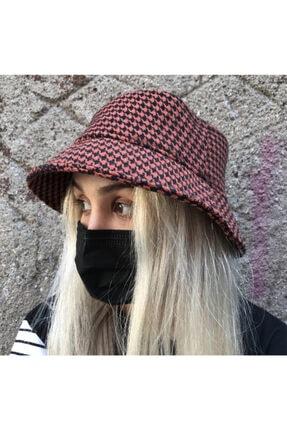 Köstebek Kaz Ayağı Siyah Kiremit Bucket Şapka