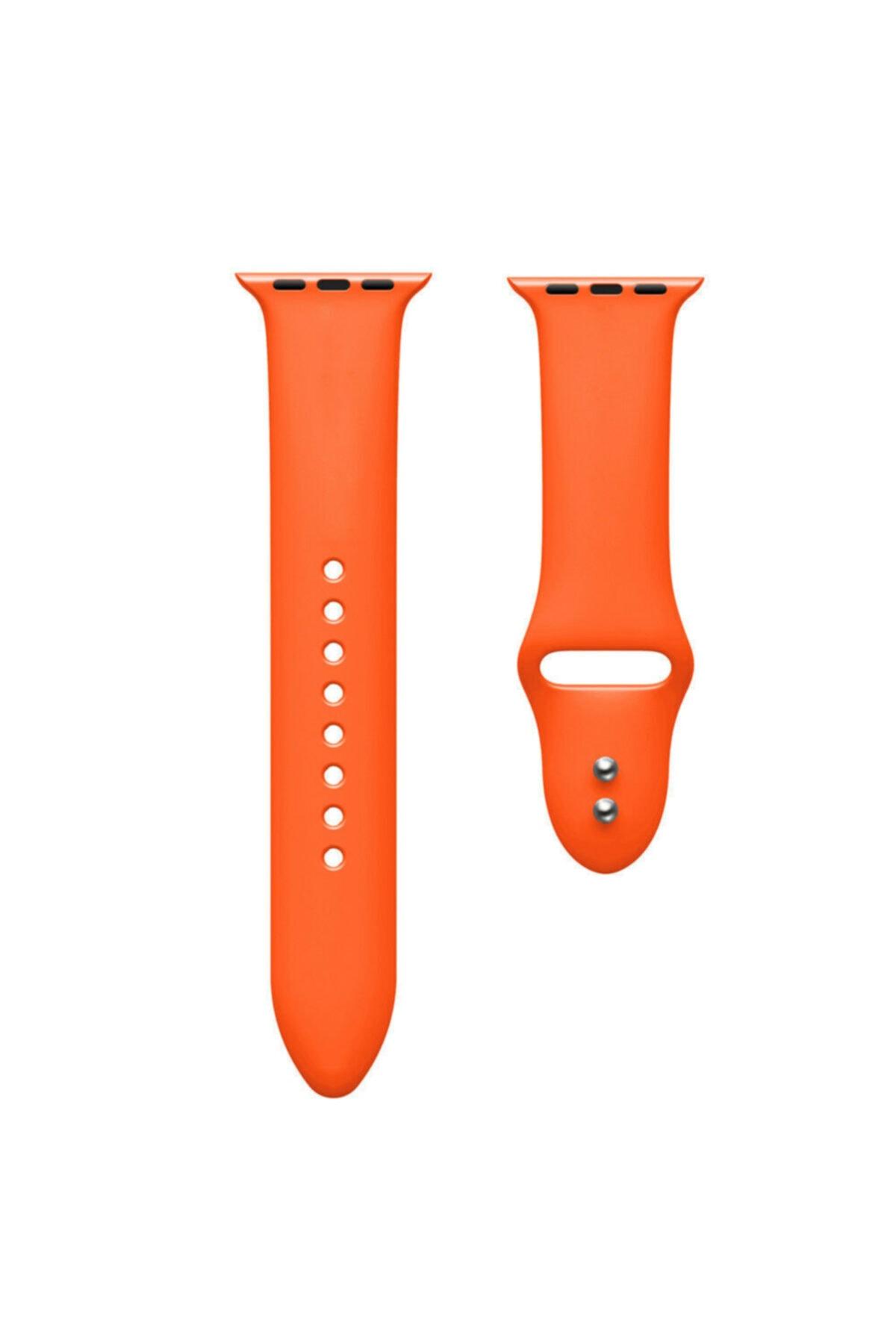 Bilişim Aksesuar Apple Watch 42 44 Mm Silikon Kordon Turuncu 2