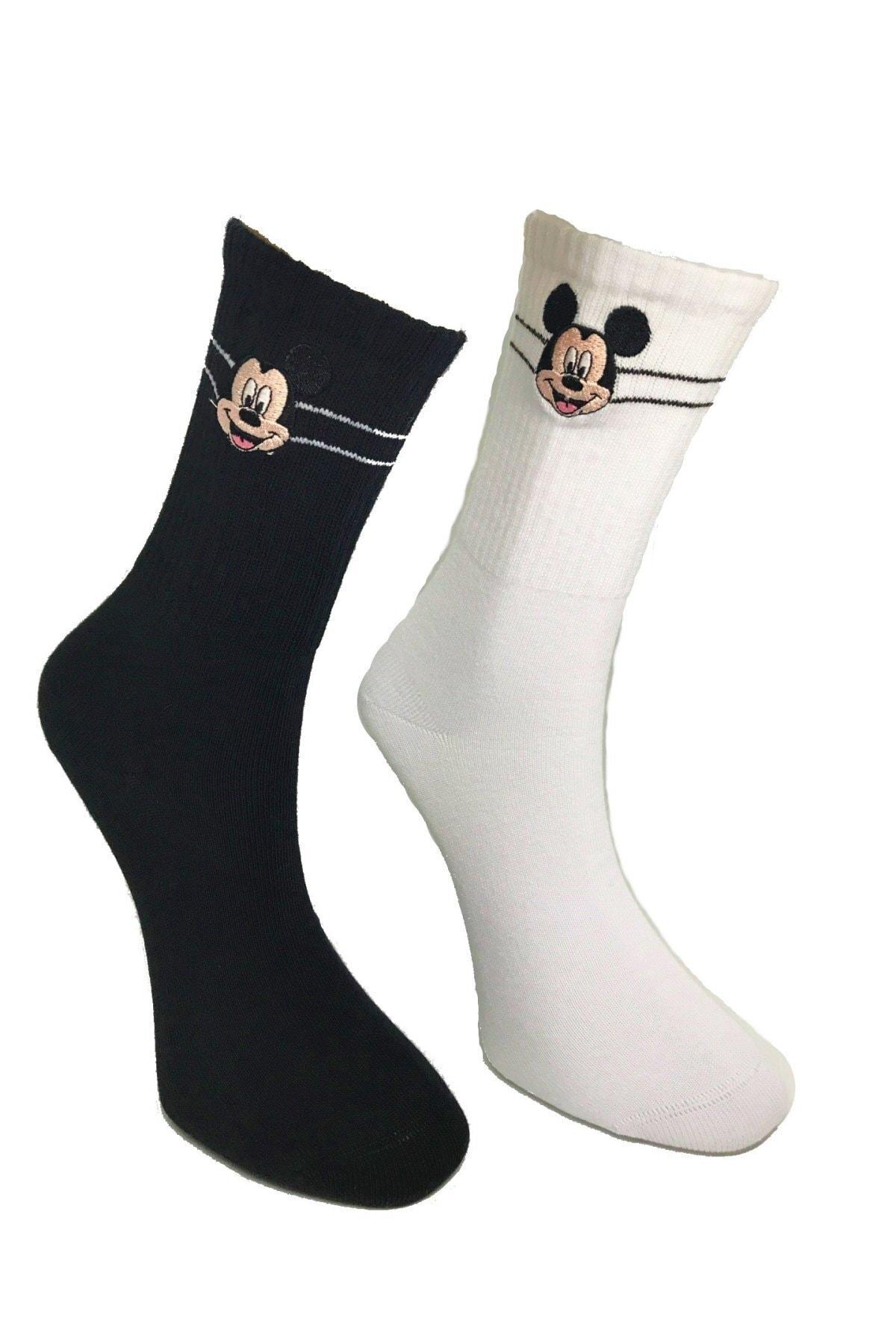 egs calze Mickey Mouse Nakışlı Ve Süblime Baskılı Özel Çorap Seti 3'lü 2