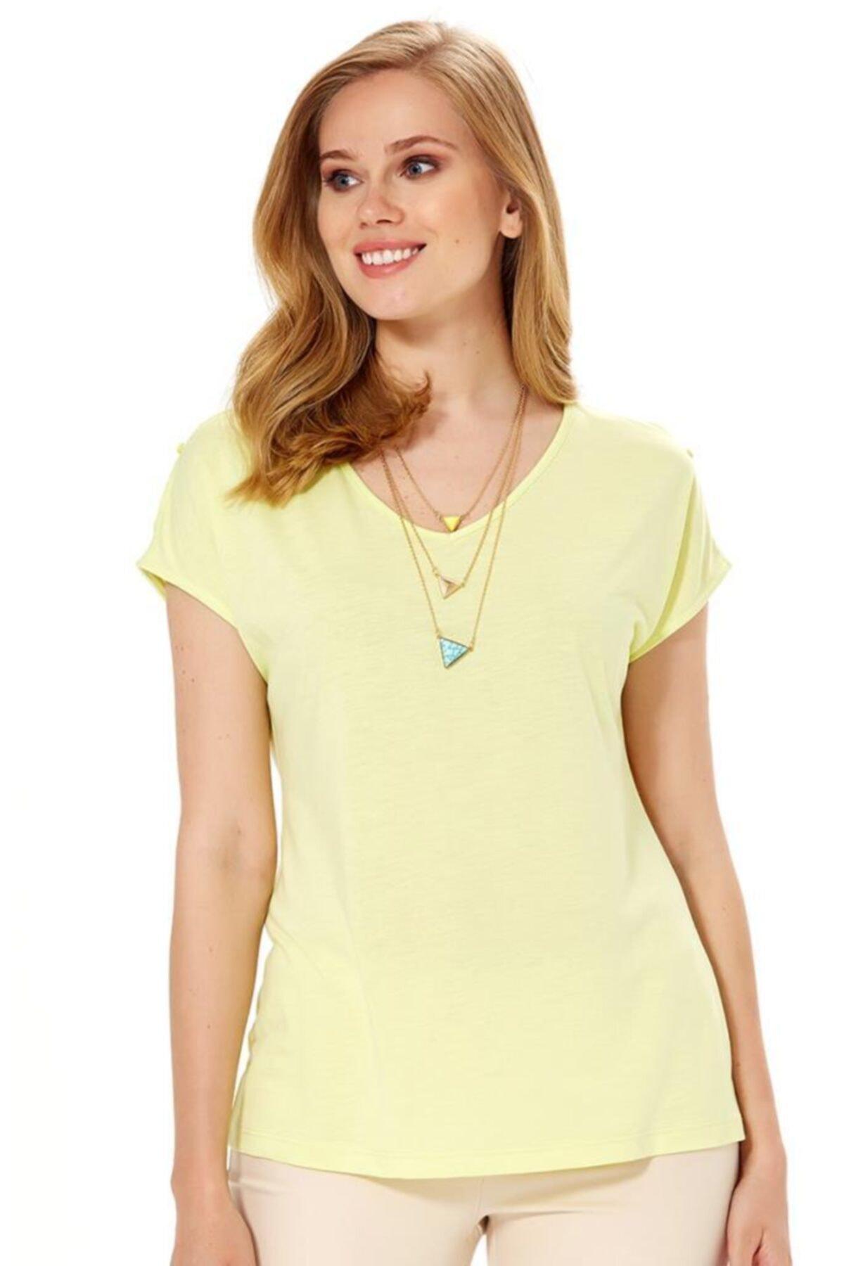 İKİLER Kadın Açık Fıstık Yeşil V Yaka Omuzu Yırtmaçlı Düğmeli Bluz 1