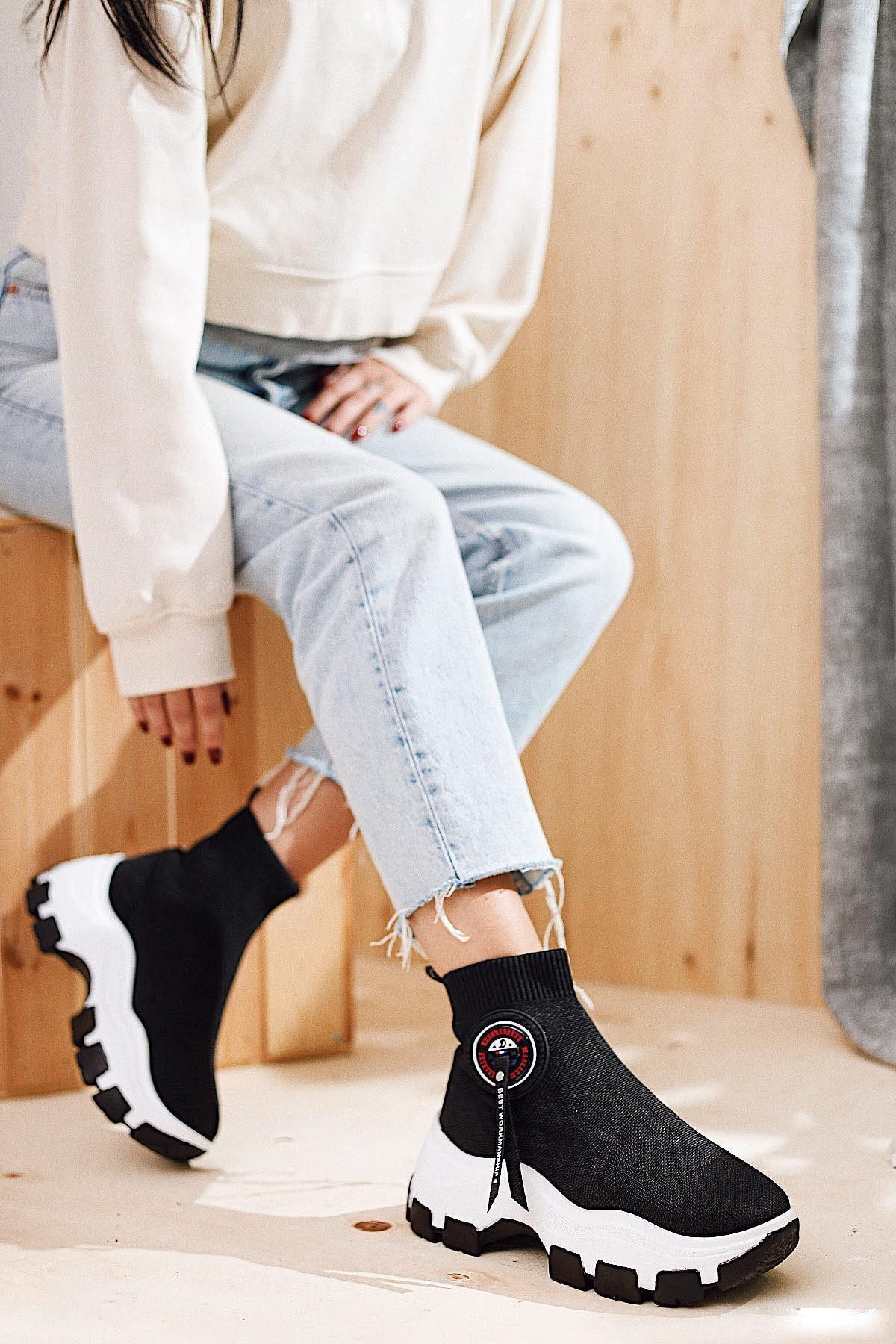 Limoya Addison Siyah Çorap Bot (Streç) 1