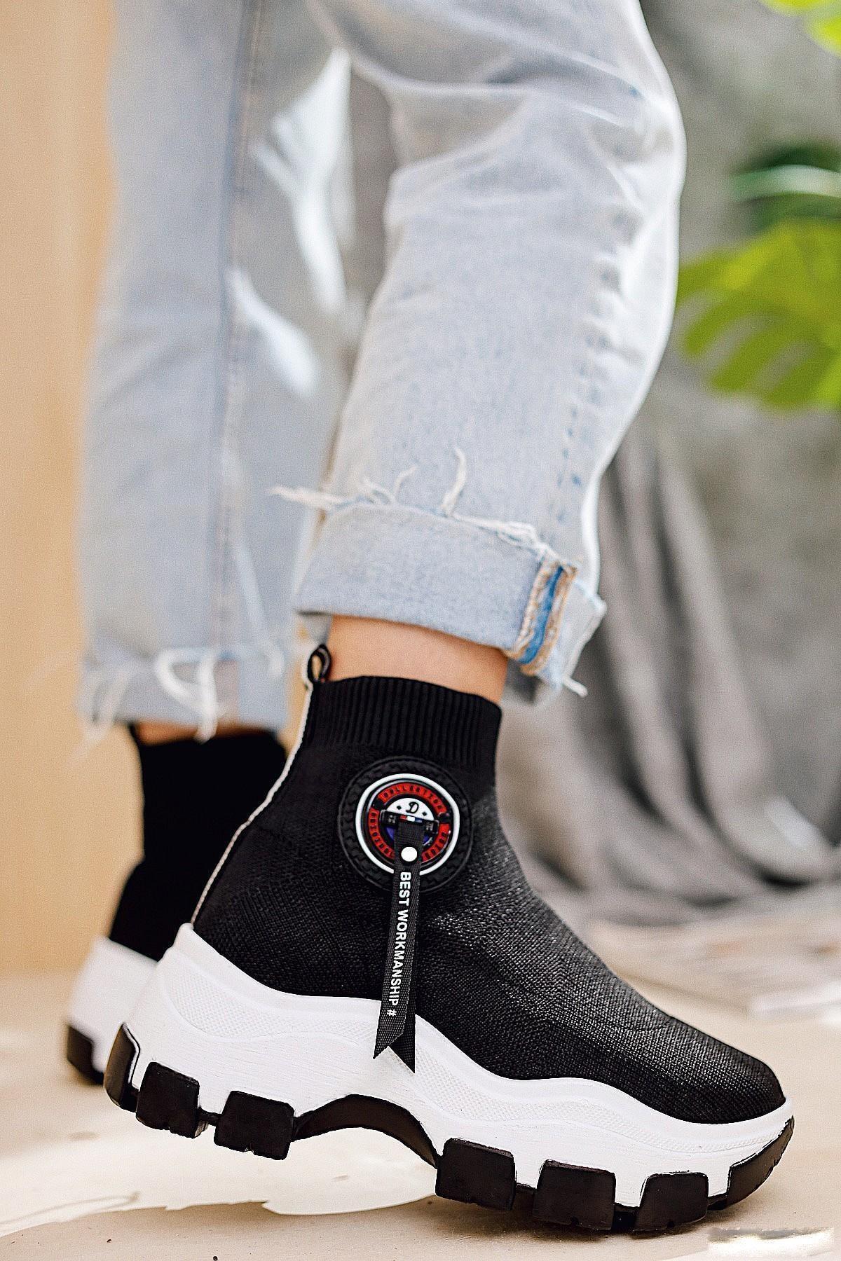 Limoya Addison Siyah Çorap Bot (Streç) 2