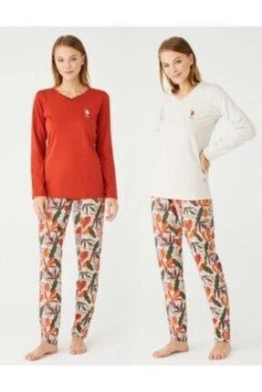 U.S POLO Uspa Polo Assn 16396 Bayan V Yaka Pijama Takım 21k