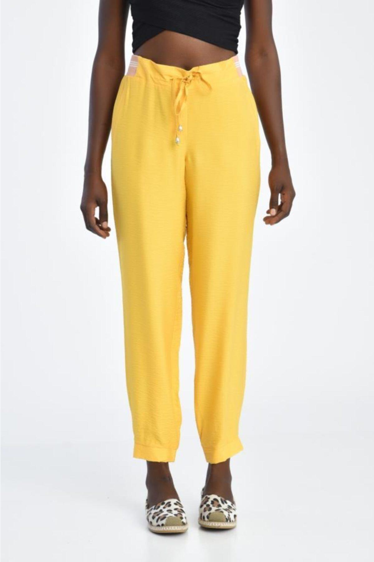 Modkofoni Bağcıklı Belden Ve Bilekten Lastikli Sarı Pantolon 2