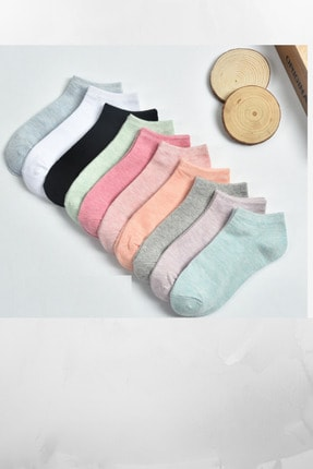 socksbox 10 Çift Kadın Koton Çok Renkli Çorap