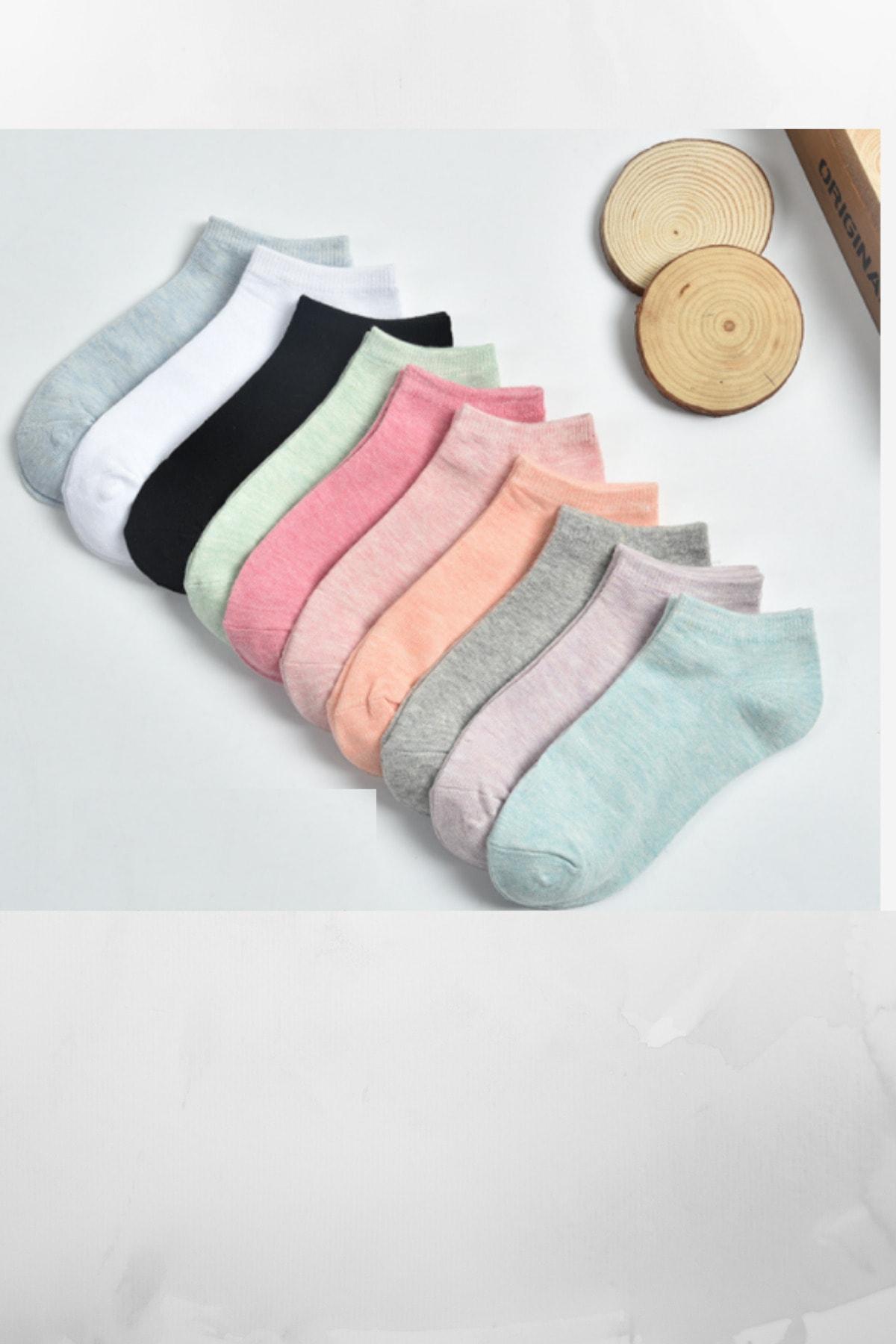socksbox 10 Çift Kadın Koton Çok Renkli Çorap 1