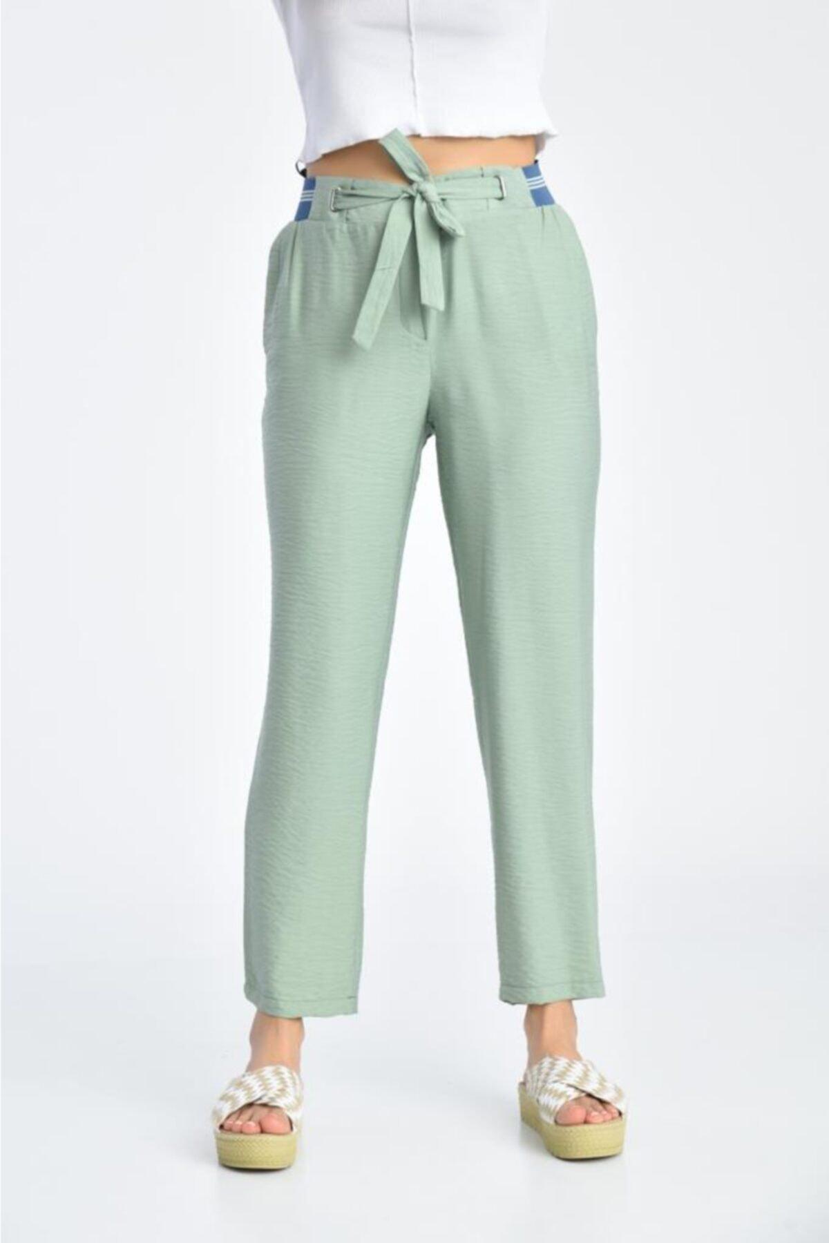 Modkofoni Bağcıklı Belden Lastikli Mint Yeşili Pantolon 2