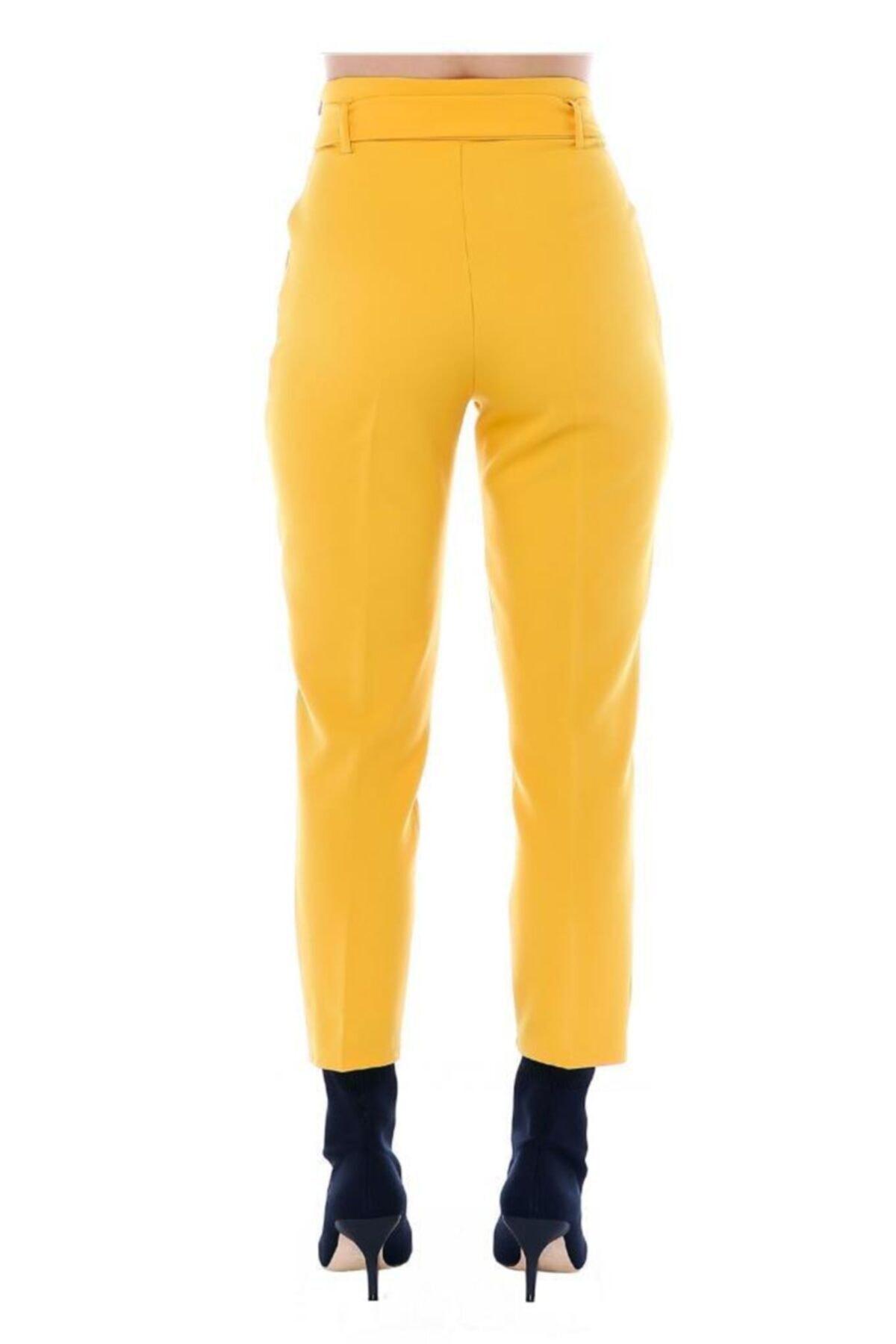 Modkofoni Yüksek Bel Tokalı Sarı Bilek Pantolon 1