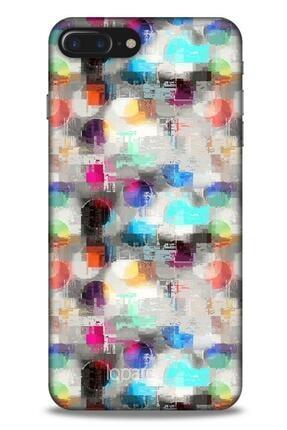 Lopard Apple Iphone 8 Plus Kılıf Pastel Renkler (8) Baskılı Kılıf Turkuaz Beyaz