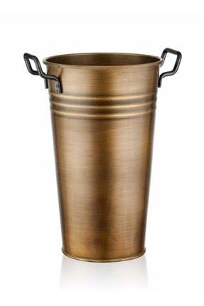 The Mia Galvaniz 40cm Metal Kulplu Vazo Gold Glv0572
