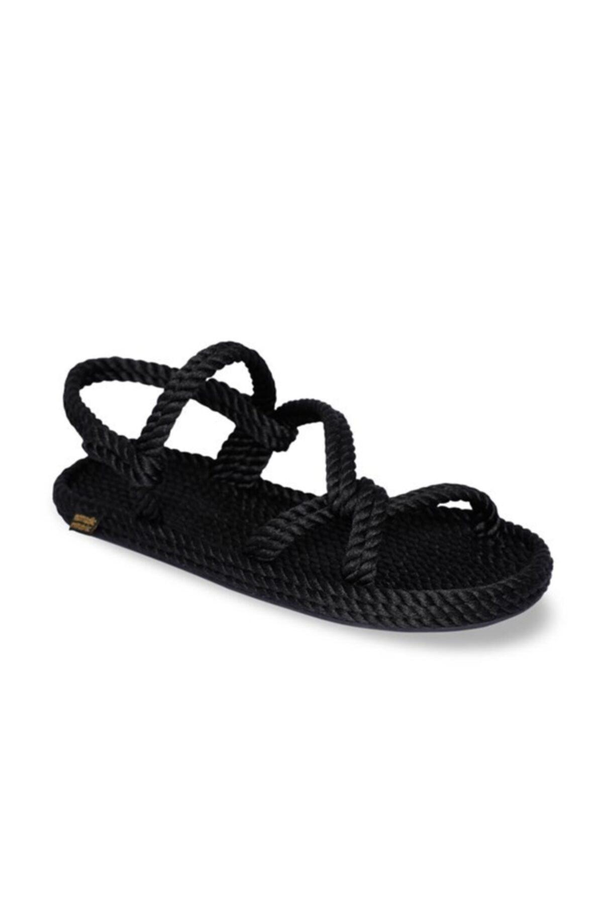 Nomadic Republic Mykonos Kauçuk Tabanlı Kadın Halat Sandalet Siyah 2