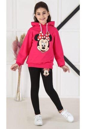 Riccotarz Kız Çocuk Sevimli Minnie Mouse Fuşya Taytlı Takım