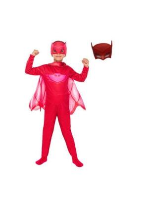 Pj Maskeliler Pija Maskeliler Owlette Kırmızı Baykuş Kız 2 Maskeli Pelerinli Kostüm