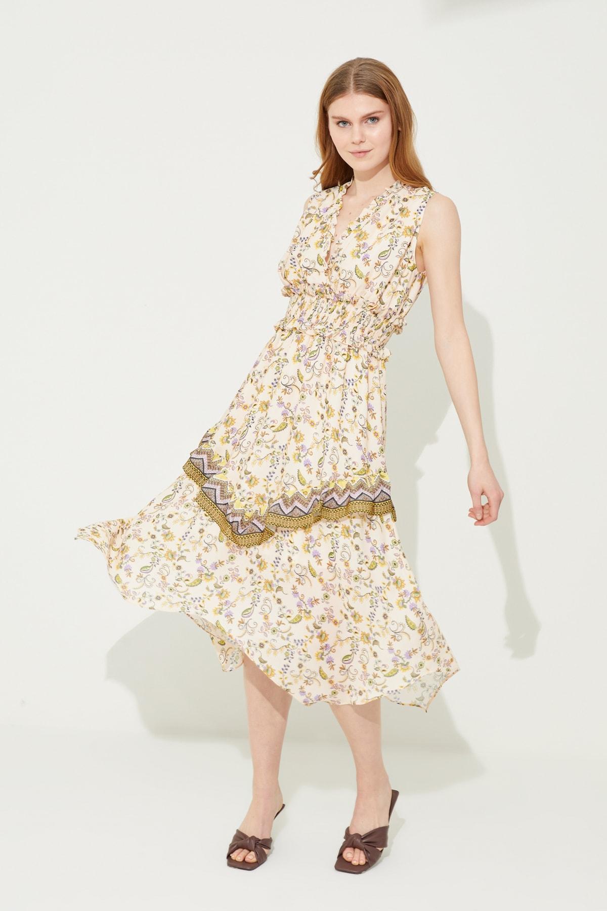 adL Kadın Emp.Sari Beli Gipeli Asimetrik Elbise 1