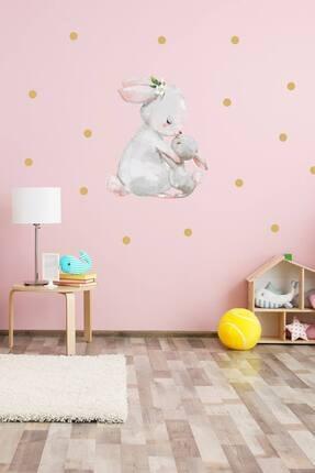 KT Decor Annesi Yavrusu Tavşanlar Puantiyeli Duvar Sticker Seti