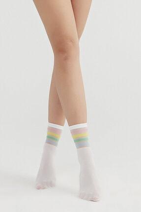 Penti Kadın Beyaz Cool Strıped Soket Çorap