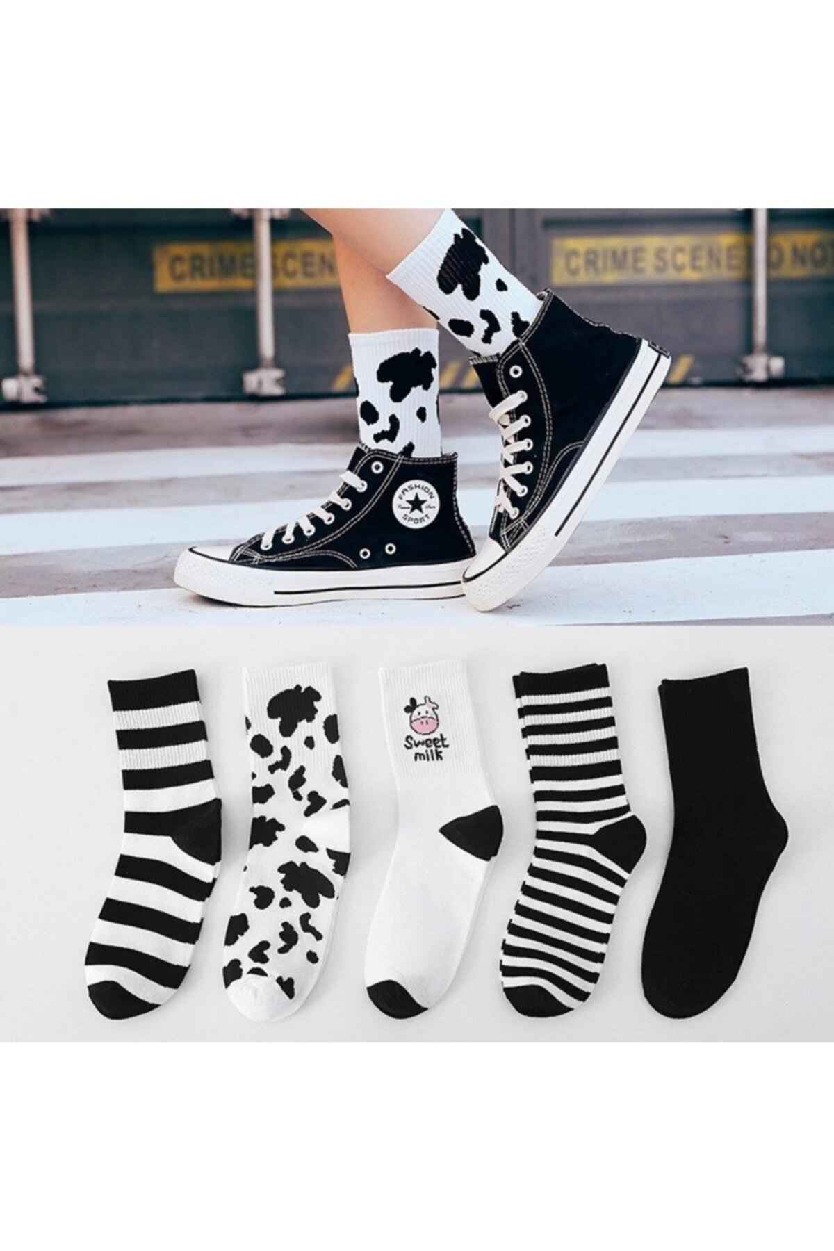 çorapmanya Kadın 5 Çift Siyah + Beyaz Inek Desenli Çizgili Tenis Çorabı 1