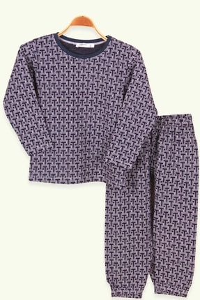 Breeze Erkek Çocuk Pijama Takımı Geometrik Desenli Lacivert (4-7 Yaş)