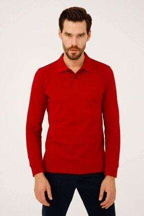 İgs Erkek Kırmızı Standart Polo Yaka Sweatshirt