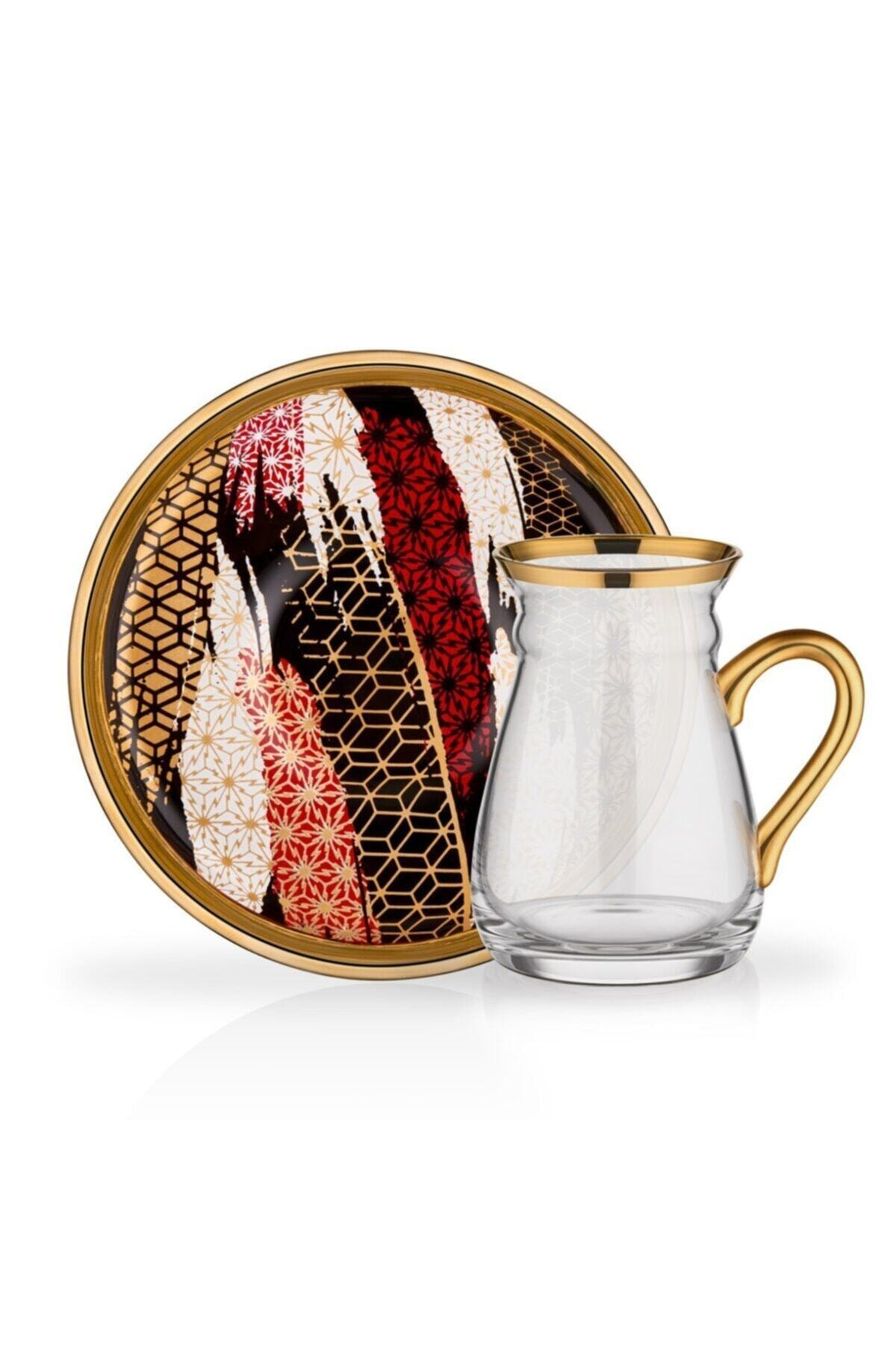 Glore Nihavent 12 Parça Kulplu Çay Bardağı Seti Mixed 1