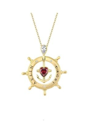 Harem Altın Isimli Gemi Dümeni Kalpli Çapa Sarı Renk Gümüş Kolye Gms1996