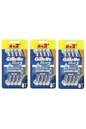 Gillette Blue3 Comfort Kullan-at Tıraş Bıçağı 8'li X 3 Paket