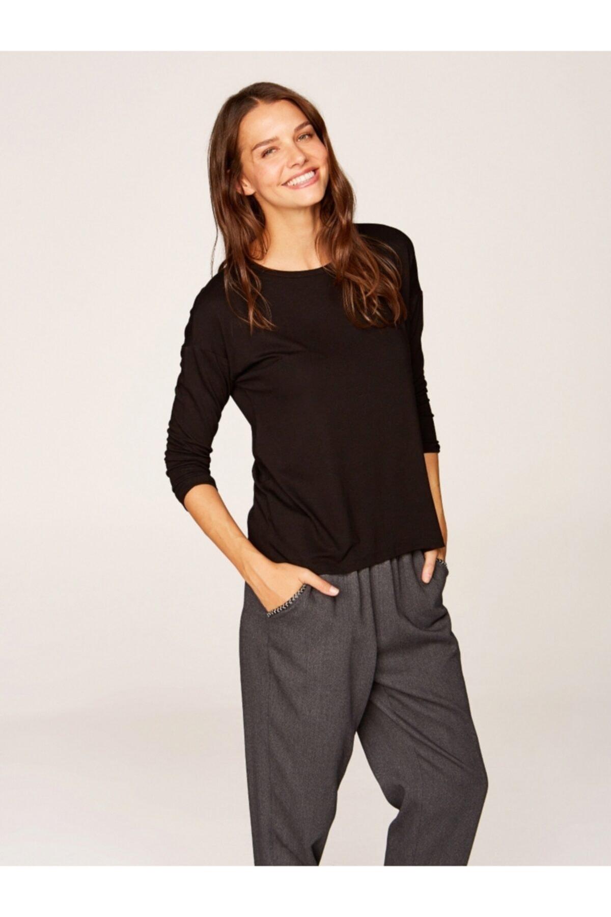 Faik Sönmez Kadın Siyah Yuvarlak Yaka Uzun Kol T-shirt 00019 1