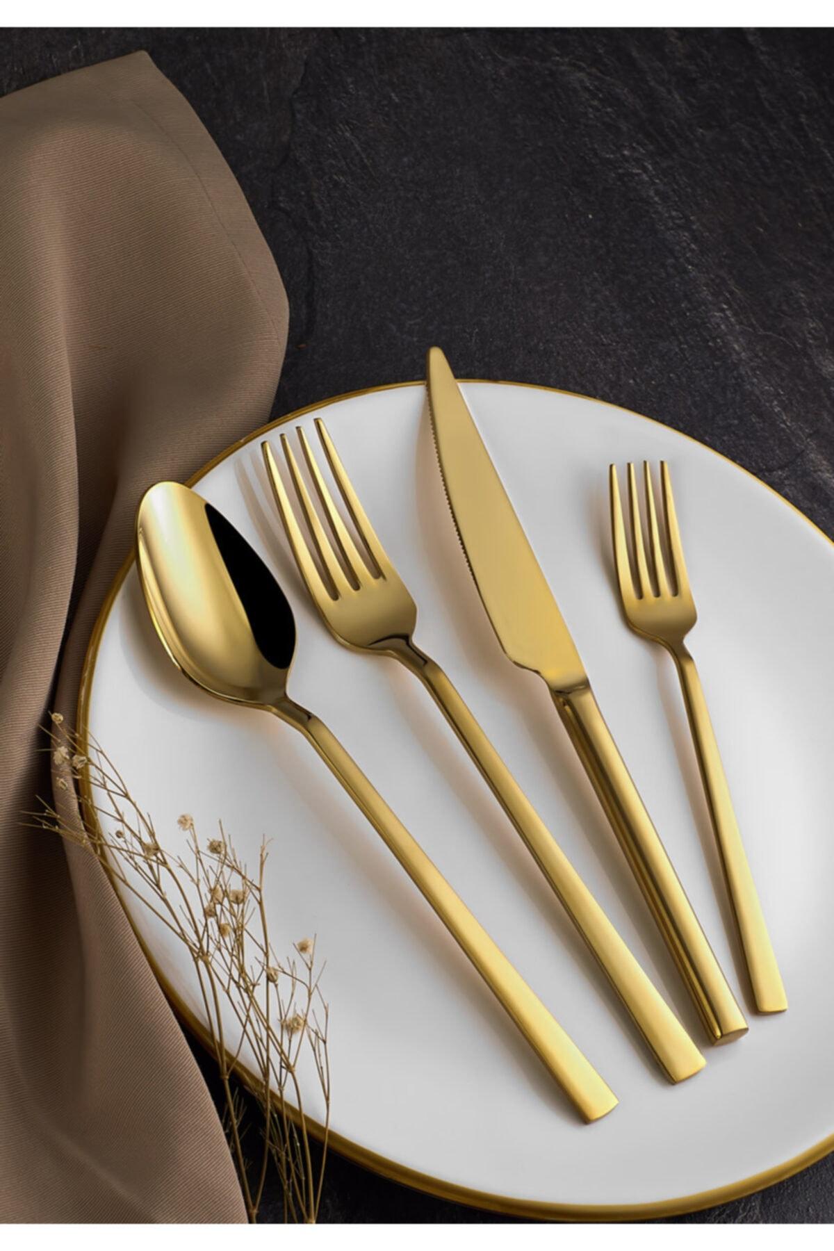 LamproMelloni Zolato Gold 24 Parça 6 Kişilik Çatal Kaşık Bıçak Takımı 1