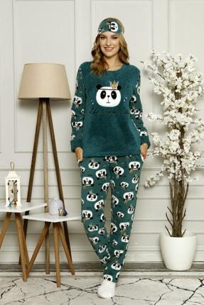 Manolya Kadın Yeşil Kışlık Uzun Kollu Peluş Polar Pijama Takımı
