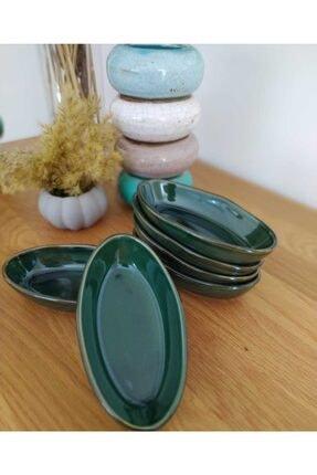 Keramika 14 Cm Çerezlik Deniz 6 Adet Reaktif Yeşil