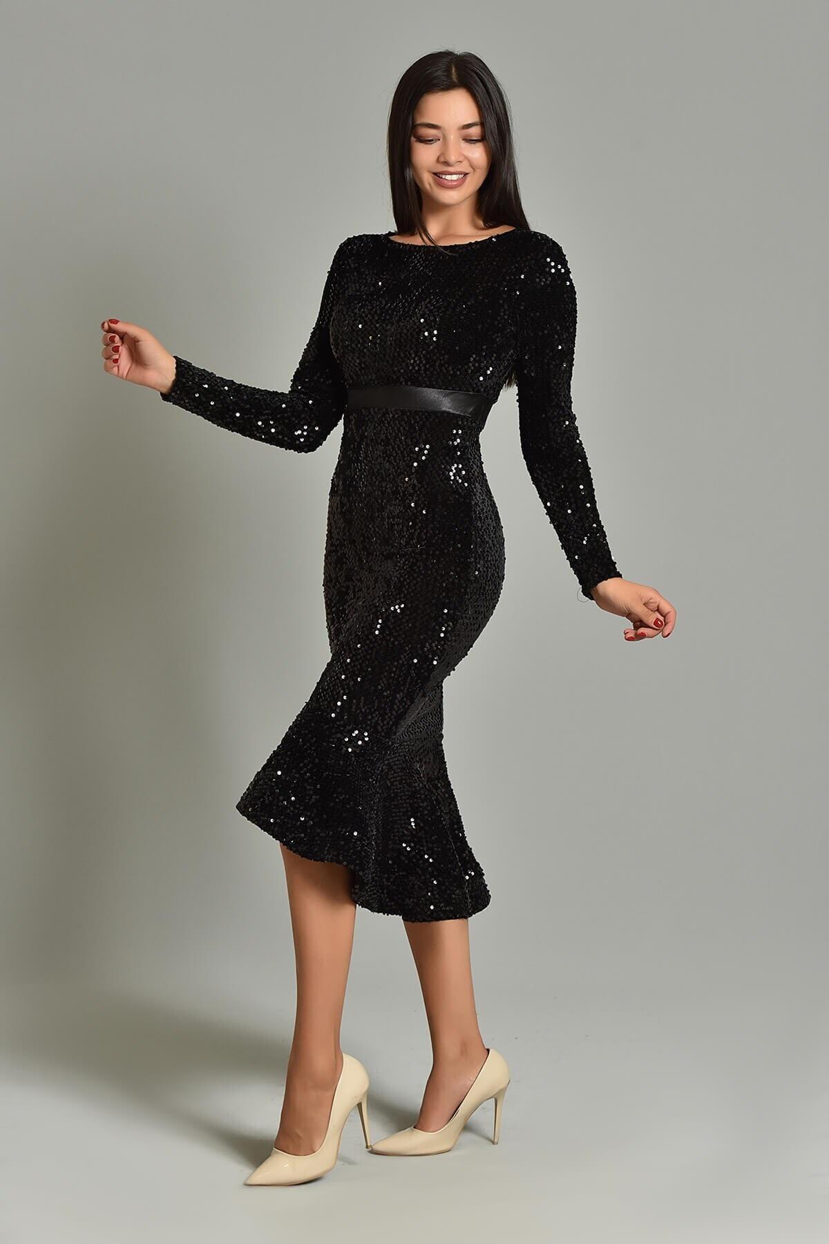 Modakapimda Siyah Pul Payet Eteği Volanlı Abiye Elbise 2