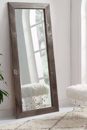 bluecape Doğal Ağaç 58x148 Cm Jenga Gri Tahta Parçacıklı Salon Ofis Mutfak Duvar Konsol Boy Aynası