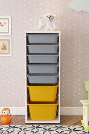 Pratico 7 Sepetli Sarı Gri Çok Amaçlı Oyuncak Dolabı