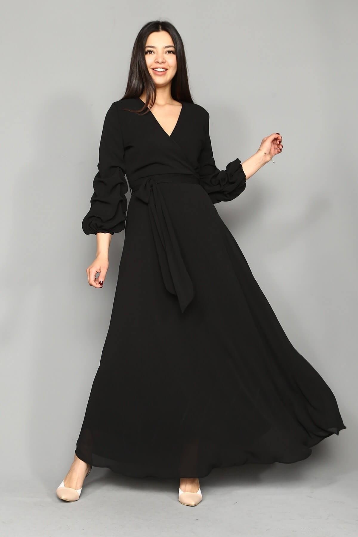 Modakapimda Siyah Kolları Büzgülü Uzun Şifon Elbise 1