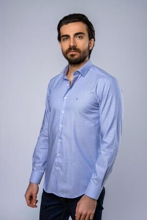 Daniel Bessi Slim Fit Uzun Kollu Mavi Erkek Gömlek 582-359