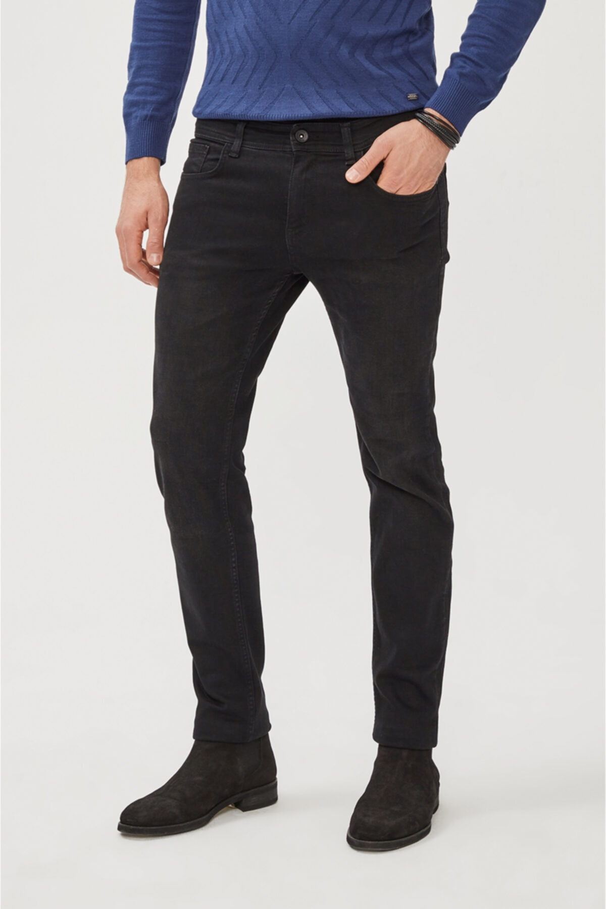 Avva Erkek Siyah Slim Fit Jean Pantolon E003512 1