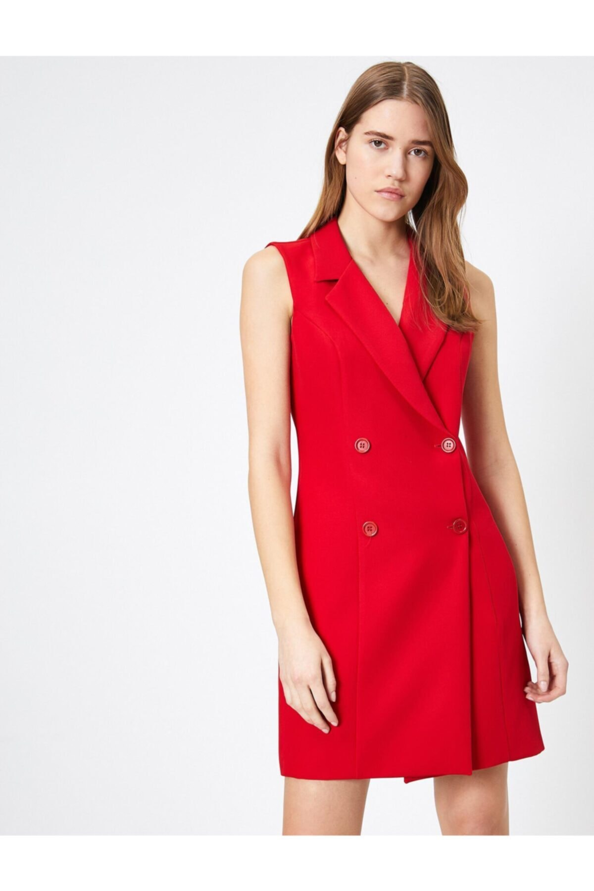 Koton Kadın Kırmızı Düğme Detaylı Elbise 0YAK83429EW 1