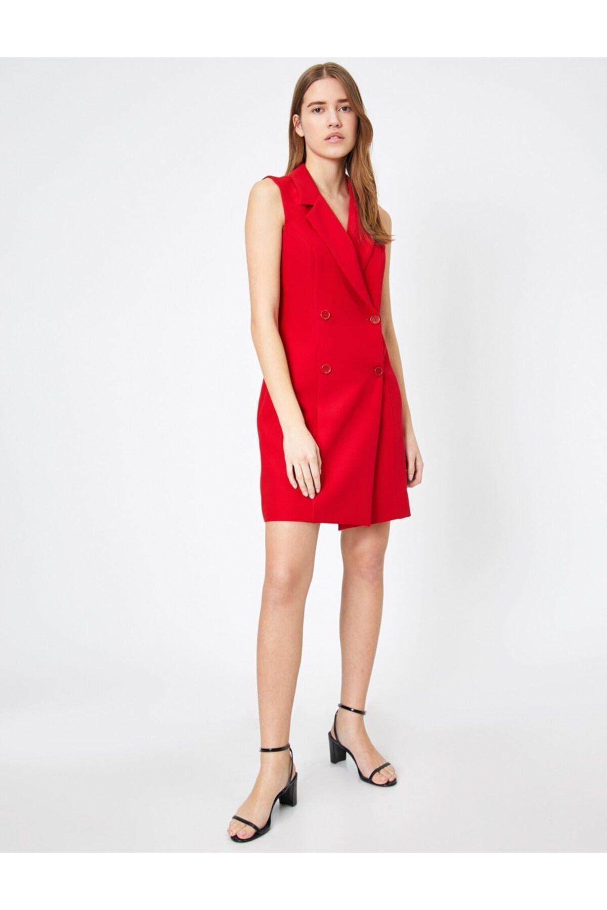 Koton Kadın Kırmızı Düğme Detaylı Elbise 0YAK83429EW 2