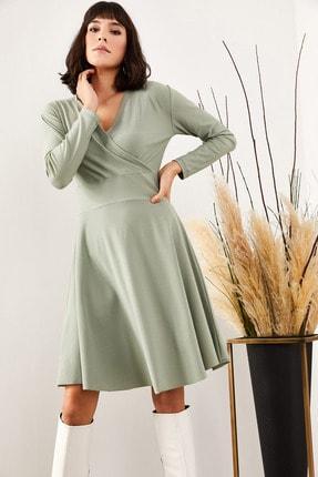 Olalook Kadın Mint Yeşili Kruvaze Elbise ELB-19000943