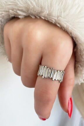 TAKIŞTIR Kadın Gümüş Renk Metal Ayarlanabilir Yüzük