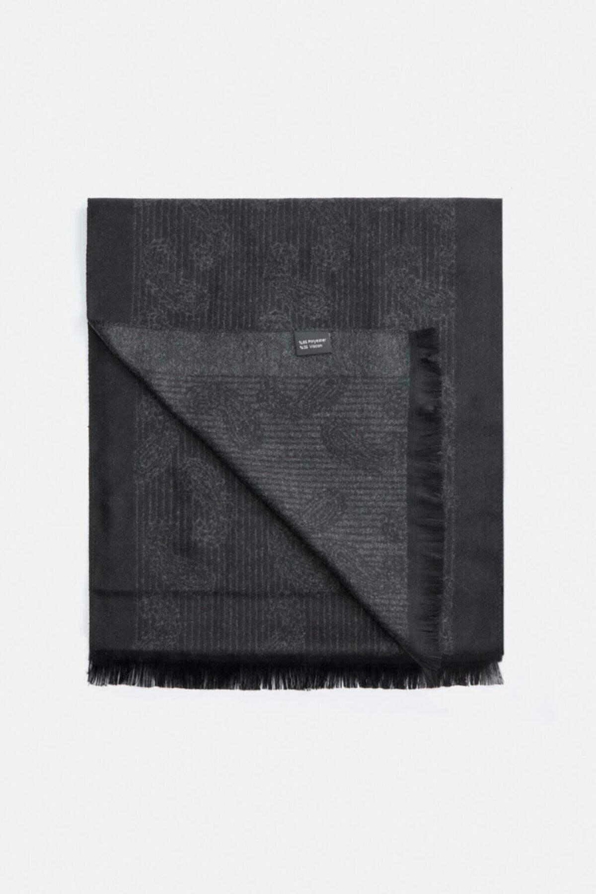 Avva Erkek Siyah Şal Desenli Şal A02y9419 1