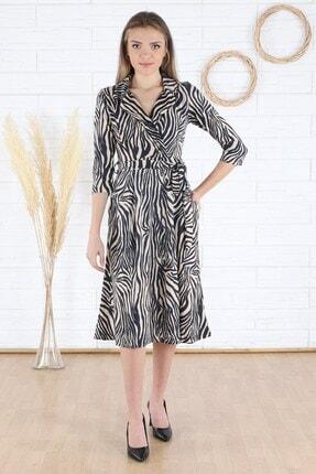 Arlin Kadın Klasik Yaka Kuşaklı Lacivert-bej Elbise