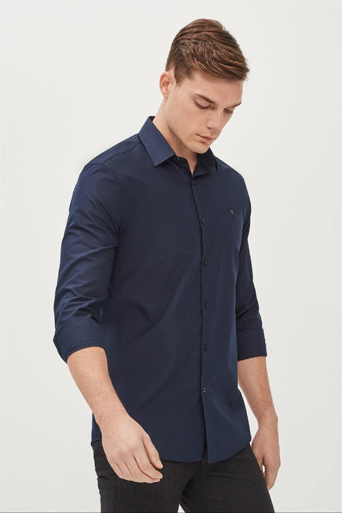 Avva Erkek Lacivert Düz Klasik Yaka Slim Fit Gömlek E002002 1