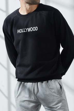 North London Erkek Üç Iplik Siyah Hollywood Baskılı Sweatshirt